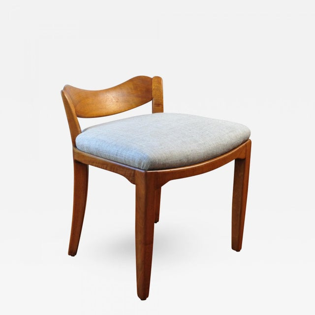 Linen Low Back Stool, Switzerland Circa 1940 For Sale - Image 7 of 7