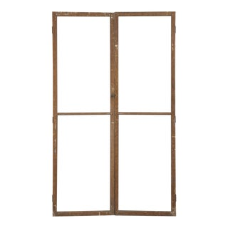 Antique French Wood and Glass Doors - a Pair For Sale
