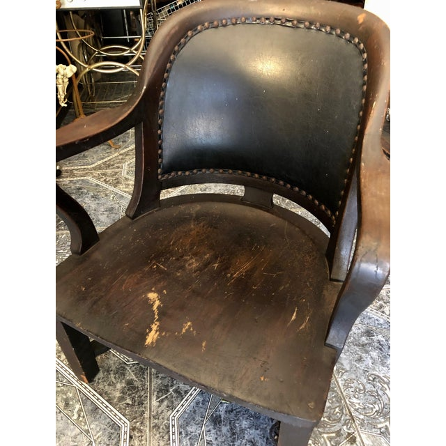 1940s Vintage Stout and Wide Wood and Leather Studded Bowed Back Reading Chair For Sale - Image 4 of 12