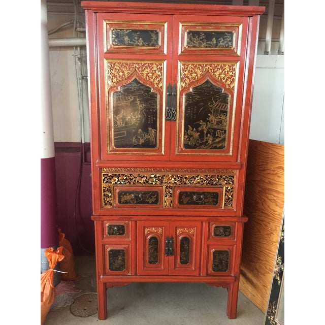 Antique Carved Asian Red Lacquer Cabinet For Sale - Image 11 of 11