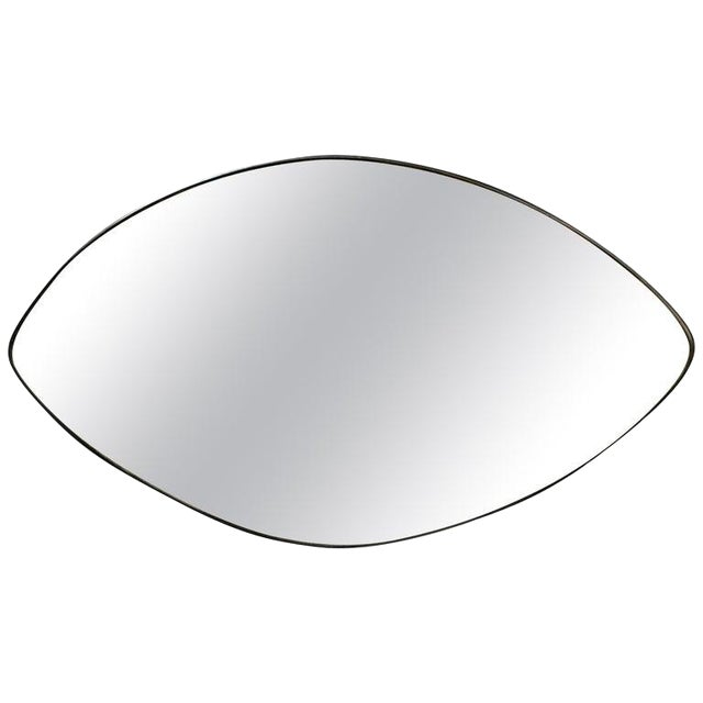 Italian Midcentury Oval Brass Wall Mirror, 1950s For Sale