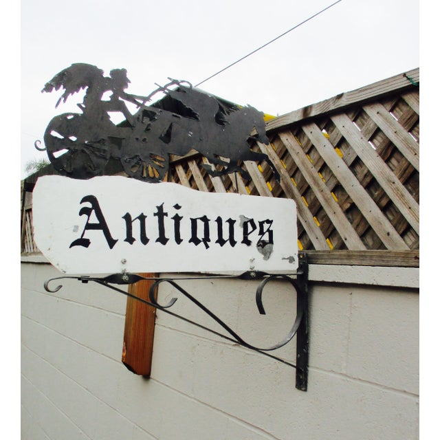 """Rusty Iron """"Antiques"""" Trade Sign Pegasus Horse - Image 8 of 11"""