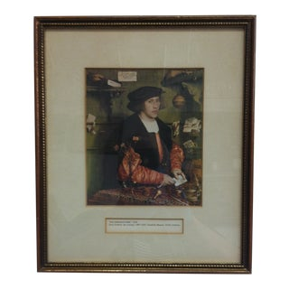 """Circa 1930 """"The Merchant Gisze"""" by Hans Holbein Matted Color Print, Framed For Sale"""
