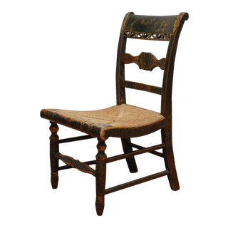 Early New England Decorated Childs Chair with Original Rush Seat For Sale