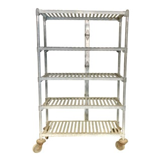 Early 20th Century Industrial Baker's Rack on Casters For Sale