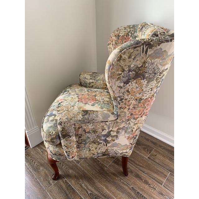 Traditional Custom Floral Wingback Chair For Sale - Image 3 of 12