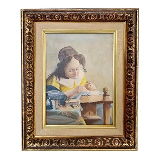 Vintage 'The Lacemaker' Oil on Canvas Portrait Painting After Vermeer For Sale