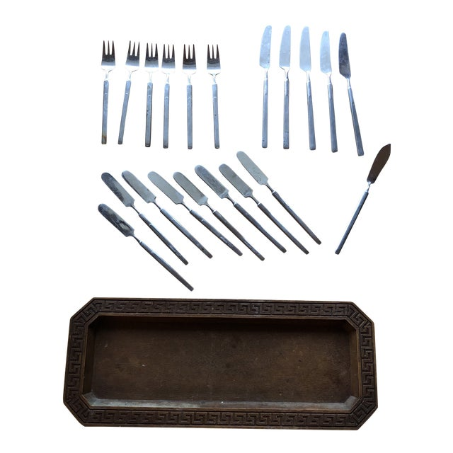 1970s Vintage Silver Flatware & Tray - Set of 21 For Sale