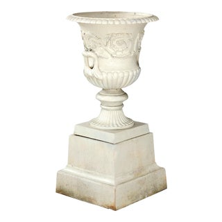 Antique French Neoclassical 2-Piece Cast Iron Garden Urn, 20th Century For Sale