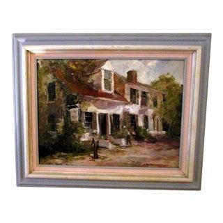 1990s Original James Crompton Perham's Corner Oil Painting For Sale