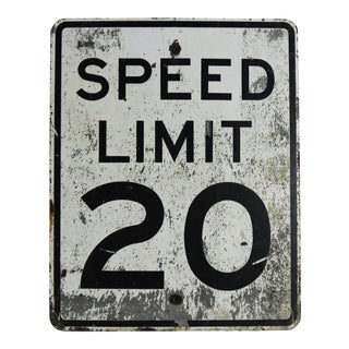 Vintage Speed Limit 20 Large Steel Traffic Sign For Sale