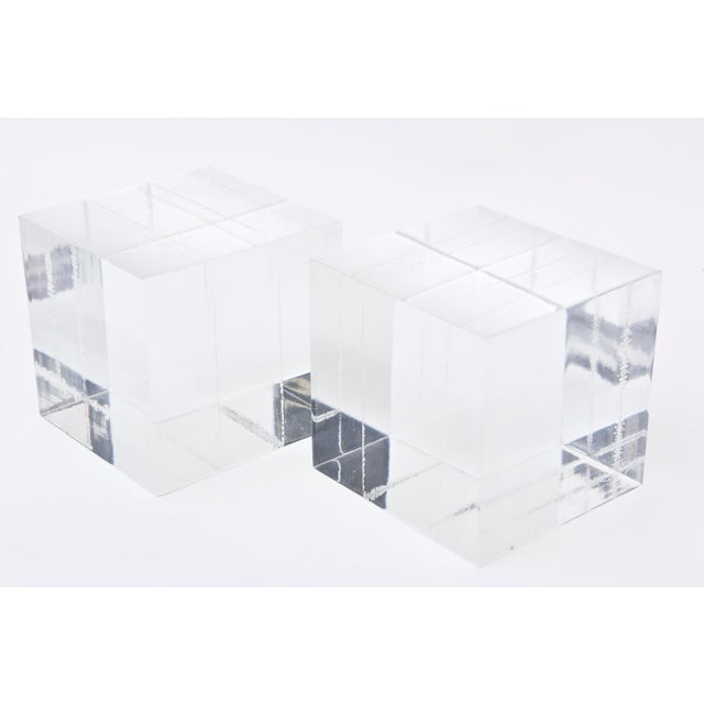 Lucite Square Cube Bookends Vintage 70's Pair Of For Sale - Image 4 of 9