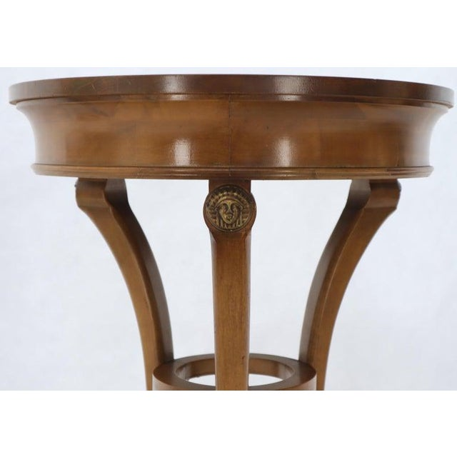 Brown Pair of Tall Round Pedestal Shape Side End Tables on Tri Legged Bases Burl Wood For Sale - Image 8 of 13