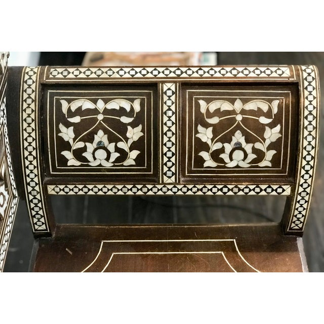 Antique Moroccan Bench With Inlaid Mother of Pearl and Abalone For Sale - Image 10 of 13