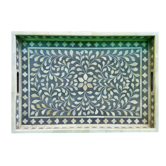 Gray Floral Bone Inlay Serving Tray - Image 2 of 3