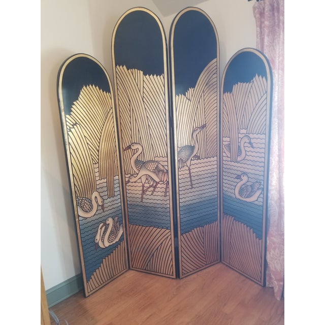 Paint 1980's Lacquer Screen Deco Revival For Sale - Image 7 of 7