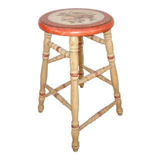 Vintage French Country Stool Hand Painted Seat With Fruit & Signed by Henri 2005 For Sale