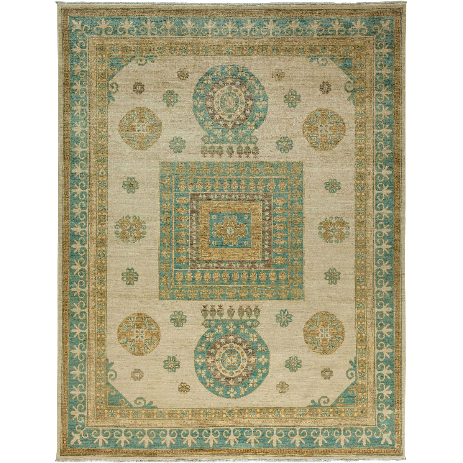 Khotan Hand Knotted Area Rug 8 10 X 11 6 Chairish