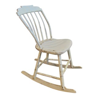 Ivory White Wood Farmhouse Rocking Chair For Sale