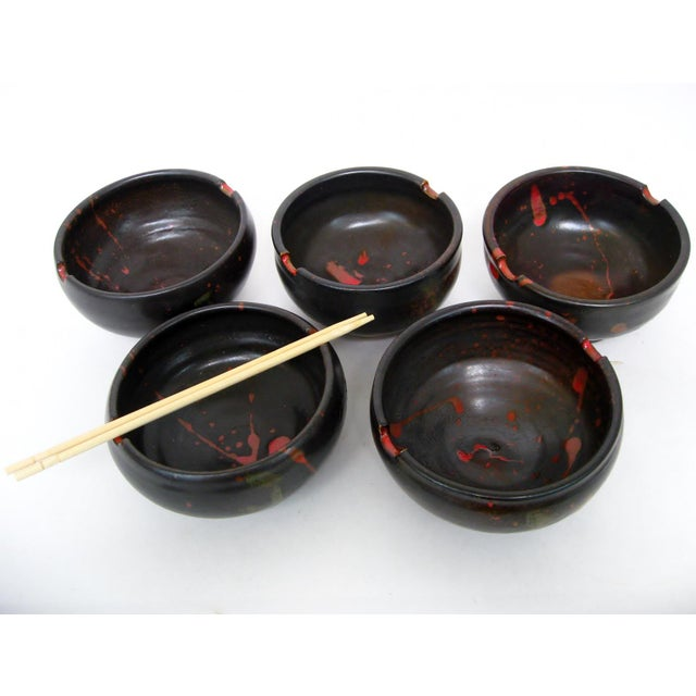 Japanese Ceramic Rice Bowls - Set of 5 - Image 3 of 7