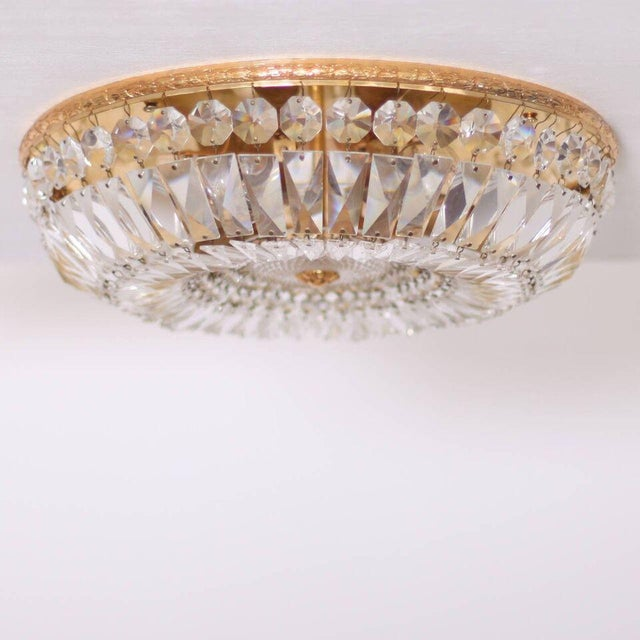 Brass One of Two Large Crystal Glass and Brass Flush Mounts by Palwa For Sale - Image 7 of 7