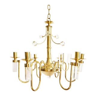 Mid Century Modern Brass & Lucite Chandelier For Sale