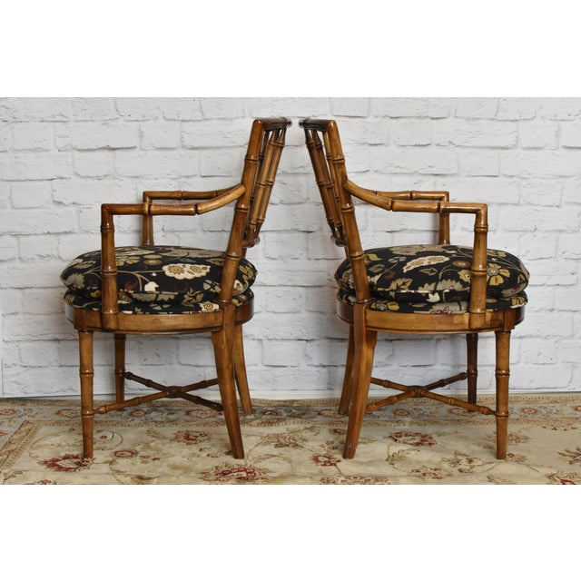 Brown Drexel Heritage Faux Bamboo Chairs - A Pair For Sale - Image 8 of 11