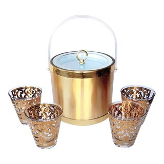1960's Set of Four Rocks Glasses and Ice Bucket Signed by Georges Briard For Sale