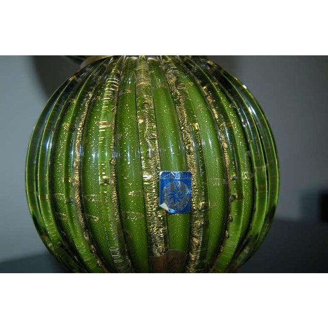 Glass Vintage Murano Glass Stacked Ball Table Lamps Bubbles Green Gold For Sale - Image 7 of 9