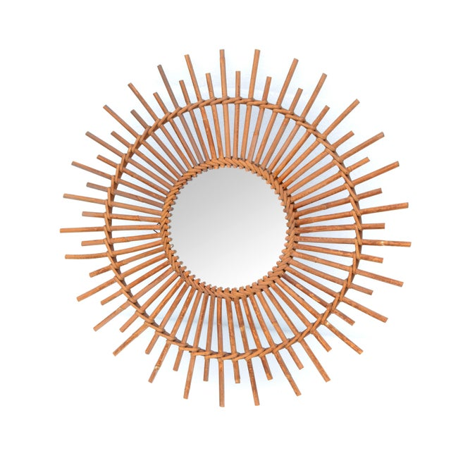 Bohemian Chic French Handcrafted Round Ficks Reed & Woven Wicker Wall Mirror For Sale - Image 13 of 13