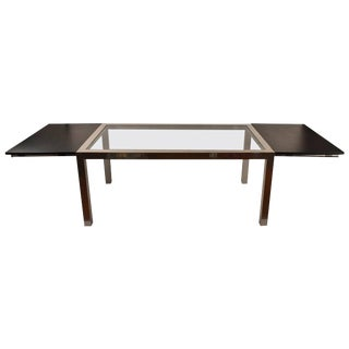 Aluminum Base Parsons Dining Table With Black Formica Leaves For Sale