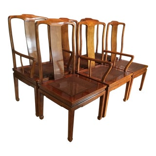 Henredon Wood and Cane With Cushions Dining Chairs - Set of 6 For Sale
