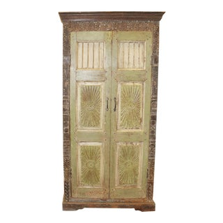 1920s Rustic Old World Carved Armoire For Sale