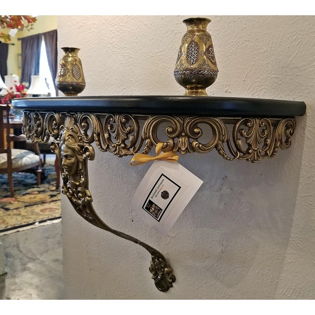 Early 20c French Art Nouveau Style Brass Wall Bracket Shelf For Sale - Image 4 of 12