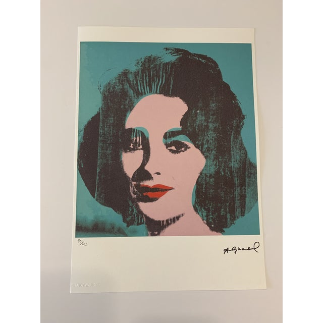 """Turquoise Andy Warhol Limited Edition """"Liz, 1964"""" Stone Signed, Numbered, and Authenticated Lithograph For Sale - Image 12 of 12"""