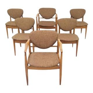 Mid Century John Stuart Finn Juhl Style Dining Chairs - Set of 6 For Sale