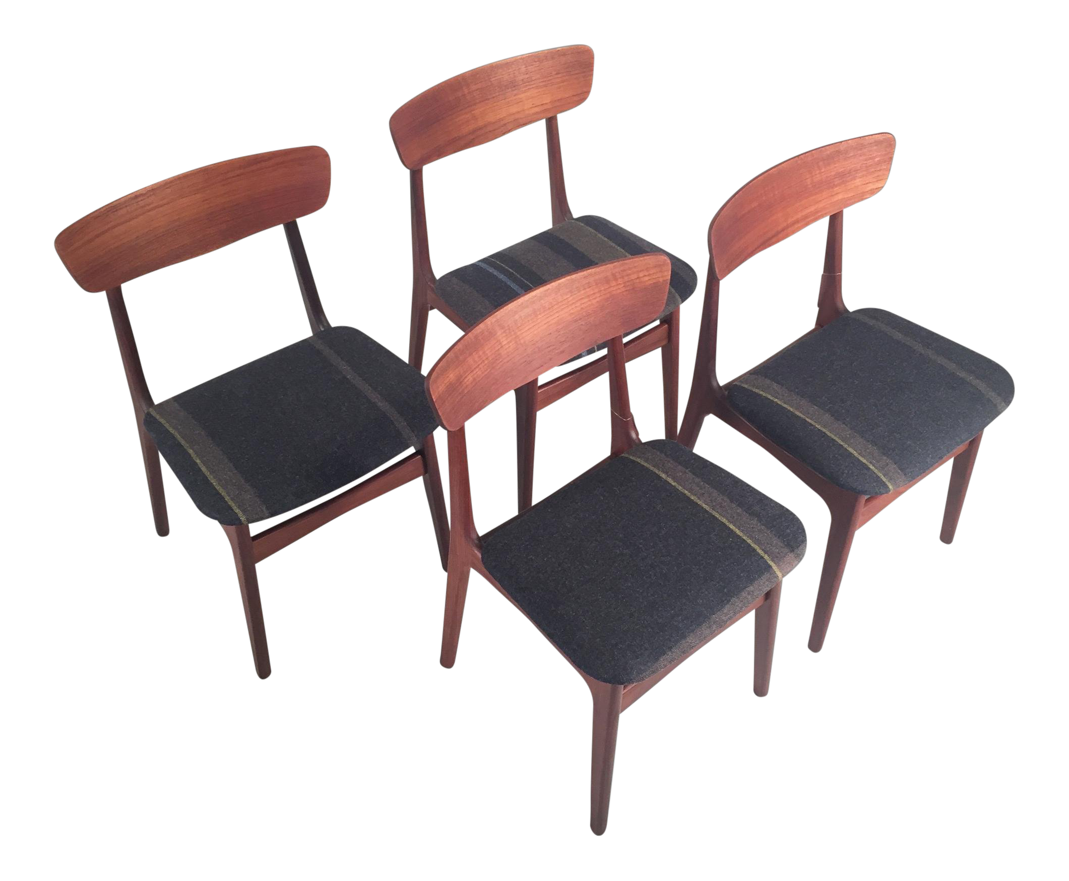 Delightful Vintage Danish Teak Dining Chairs   Set Of 4
