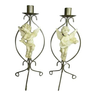 Vintage Brass Cherub Candlestick Holders - A Pair