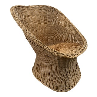 Vintage Rattan Barrel Chair For Sale