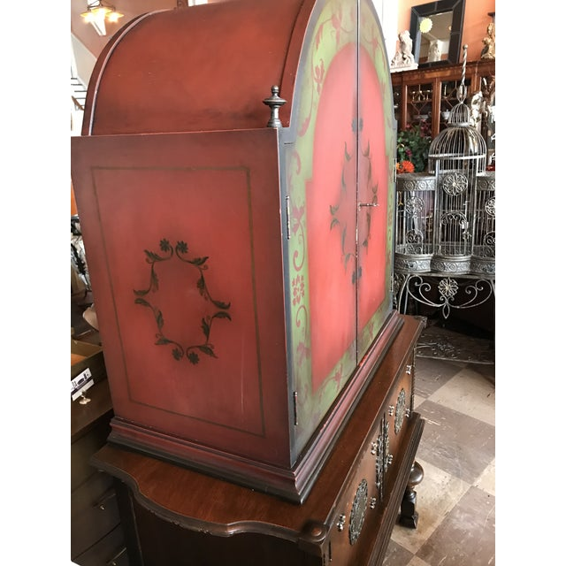Red Arch Top Display Cabinet For Sale - Image 8 of 9