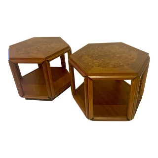 John Keal for Brown Saltman, Walnut & Burl Wood, Hexagon Side Tables - a Pair For Sale
