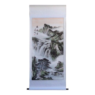 Chinese Hand Painted Tai Mountain's Wonderful View Motif Hanging Scroll For Sale