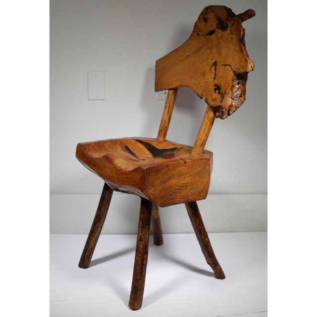 Early 20th Century Rustic Live Edge Hickory and Buckthorn Side Chair circa 1930s - Image 2 of 5