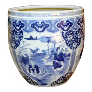 Chinese Blue White Oriental Flower People Scenery Porcelain Pot For Sale