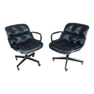 1960s Vintage Charles Pollock for Knoll Black Leather Executive Chairs- A Pair For Sale