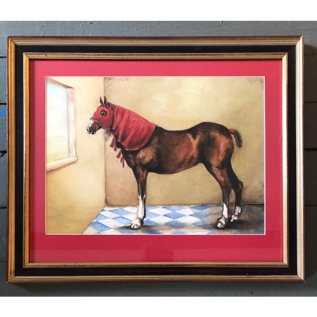 1980s Original Vintage Horse With Hood Signed Watercolor Painting For Sale - Image 5 of 5