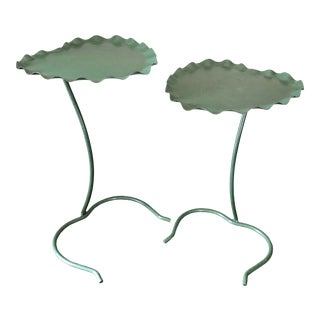 Green Wrought Iron Salterini Nesting Lily Pad Tables- a Pair For Sale