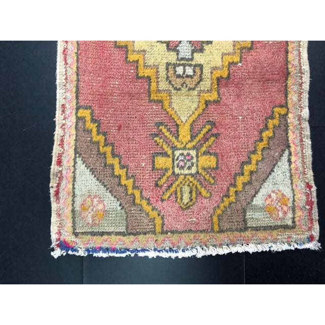 Faded Turkish Antique Handmade Small Rug, Door Mat Rug For Sale - Image 4 of 6