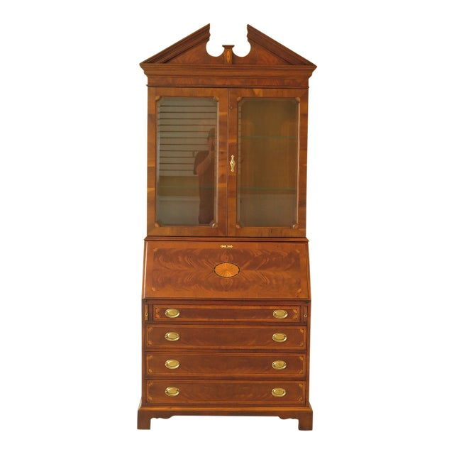 1990s Vintage Hekman Inlaid Mahogany & Yew Wood Secretary Desk For Sale