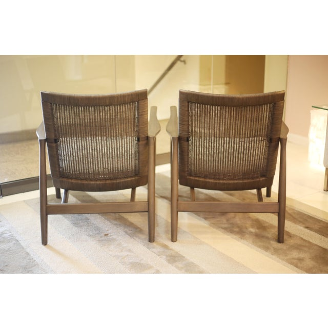 Crate Barrel Gray Wood Chairs A Pair Chairish